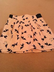 H&M pink skirt with black & white birds size 12 | eBay