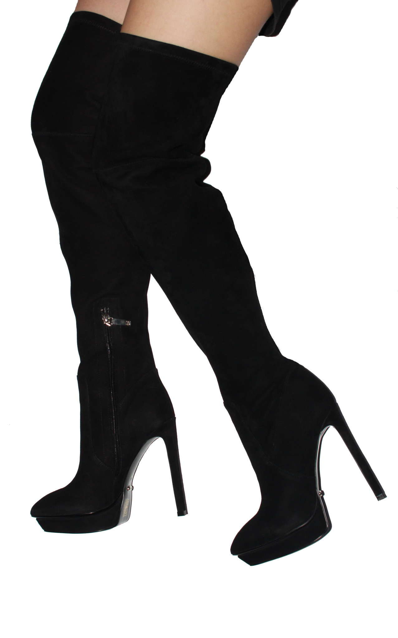 inch Heels - Black suede over the knee high heel boots