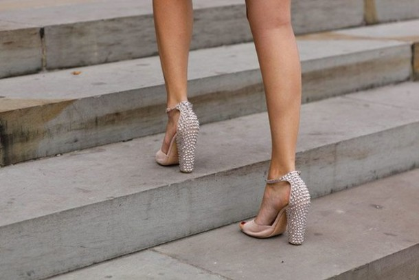 Shoes: studded heels, studded sandals, studs, nude, nude high ...