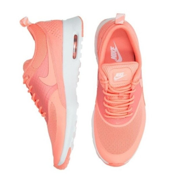 shoes peach trainers vibrant nike air max thea coral nike air max thea coralpink nike shoes sneaks pastel sneakers nike air max thea atomic pink nike air