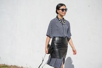 cecylia blogger shirt dress striped shirt black leather skirt