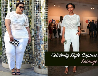 garner style blogger sunglasses white pants white t-shirt clutch geometric sandals