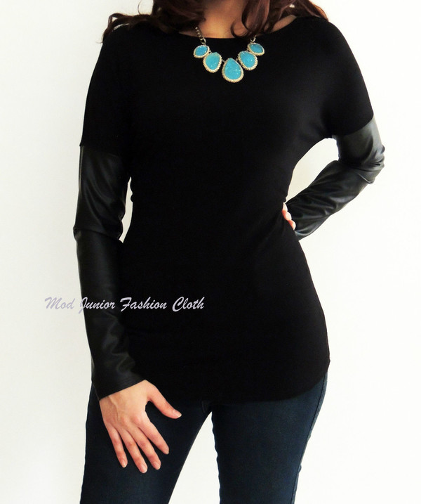 blouse faux leather long sleeve top long sleeves t-shirt long sleeve blouse black top black blouse fashionista