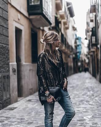 jacket tumblr sequin jacket gold sequins sequins denim jeans blue jeans ripped jeans bag black bag