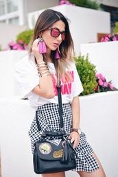 sunglasses,skirt,tumblr,pink sunglasses,t-shirt,white t-shirt,bag,black bag,gingham,mini skirt,bracelets,gold bracelet,earrings,jewelry,accessories,wrap ruffle skirt,gingham skirt,asymetrical skirt