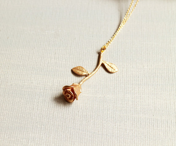 Rose Necklace. matte gold rose necklace. gold rose flower pendant. anniversary birthday gift