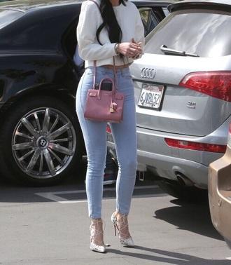 kylie jenner jeans pink bag