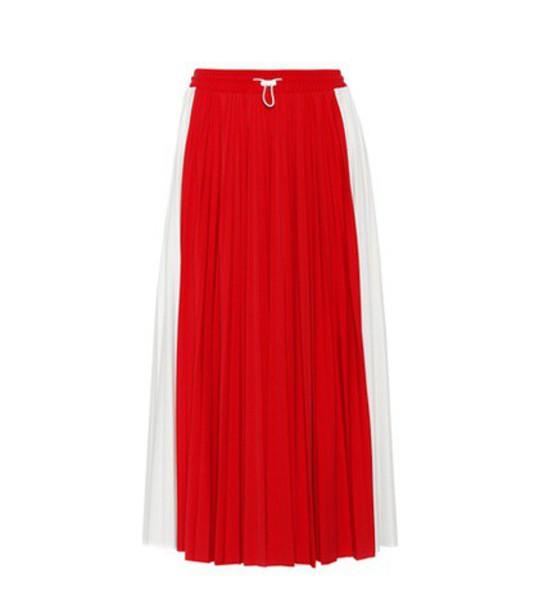 skirt midi skirt pleated midi red