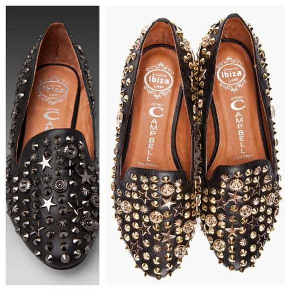shoes jeffrey campbell black loafers gold studded