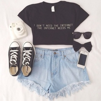 t-shirt iphone case converse internet camera hair bow bows crop tops sunglasses top shorts high waisted shorts denim ootd