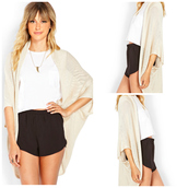 jacket,cardigan,shorts,t-shirt,summer outfits,jewels,beige,black,white,outfit,blouse