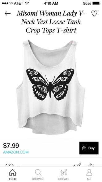 shirt butterfly crop tops