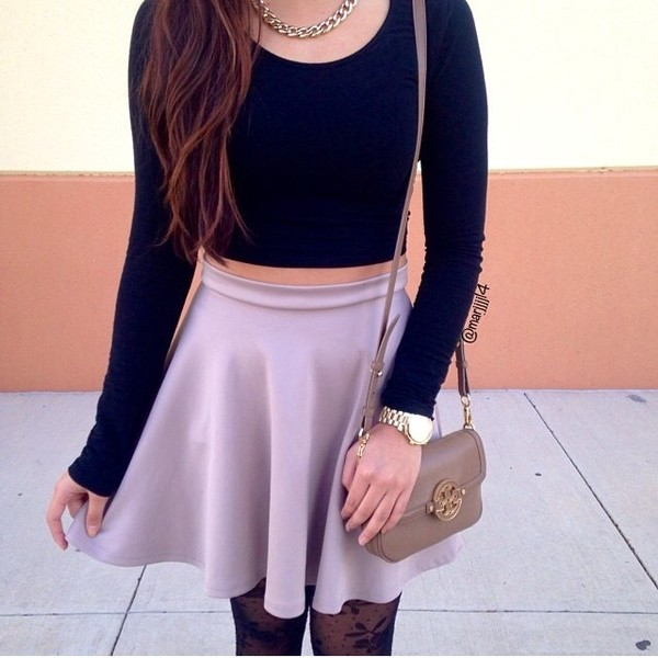 shirt crop tops skirt