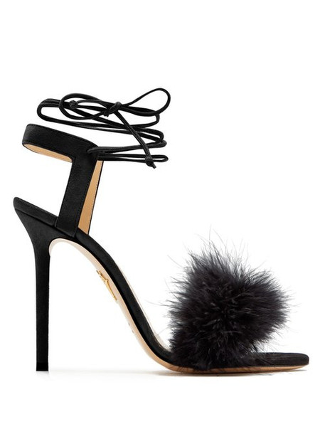 Charlotte Olympia - Salsa Feather Embellished Suede Sandals - Womens - Black
