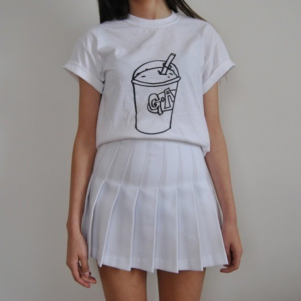 t-shirt tennis skirt white tshirt graphics white t-shirt