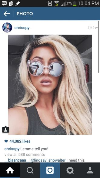 sunglasses round sunglasses glasses tumblr blonde hair cute instagram style streetstyle street urban streetwear grunge gorgeous girly sexy silver grey trill dope shit dope crop tops polka dots