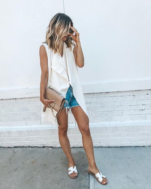 shorts denim shorts top white top shoes