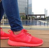 shoes,pink,coral,roshes,nike,nice,love