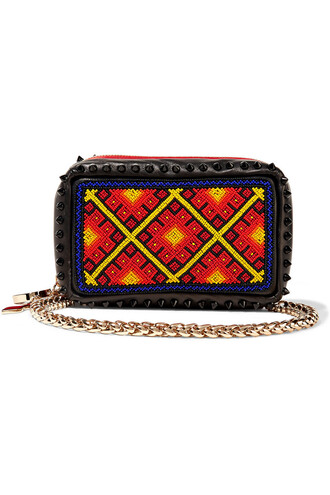 leather clutch embellished clutch leather black red bag
