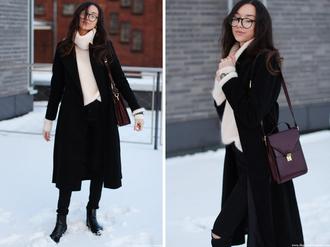 the fashion cuisine blogger oversized turtleneck sweater black coat satchel bag
