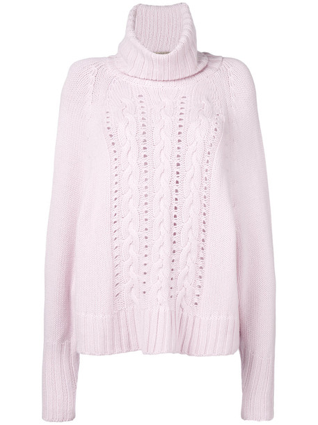 Ermanno Scervino - turtle neck knitted jumper - women - Cashmere - 40, Pink/Purple, Cashmere