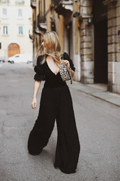 jumpsuit,black jumpsuit,bag,shoes