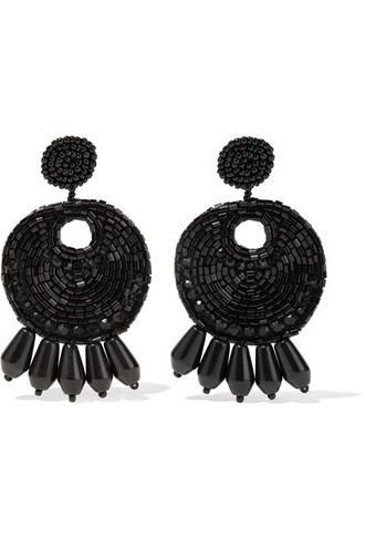 beaded earrings black jewels