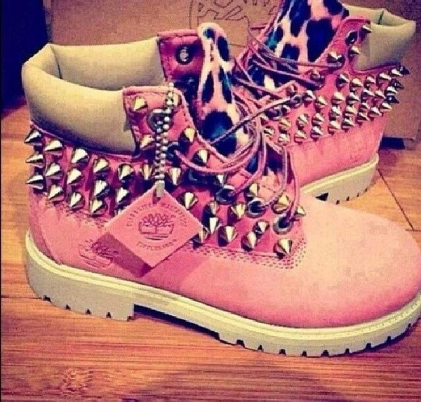 shoes pink timberlands leopard print spikes spiked shoes