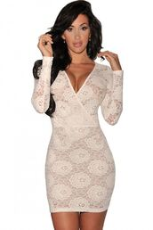 dress,white dressw,white lace,lace dress,lace bodycon dress,long sleeves,plunge neckline,mini dress,clubwear,wrap front dress,www.ustrendy.com
