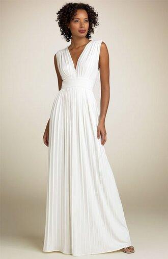 dress white white dress empire dress v neck dress loose sleeveless pleated waistband