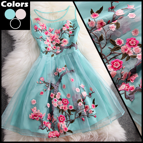 Ladies Organza Embroidery Floral Dress Women Brand Sleeveless Prom Dresses New Fashion 2014 Spring Cute Princess Dress LT1315-in Apparel & Accessories on Aliexpress.com