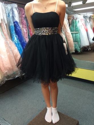 dress short prom dress short puffy dress short dress puffy dress black dress little black dress diamonds shiny prom dress