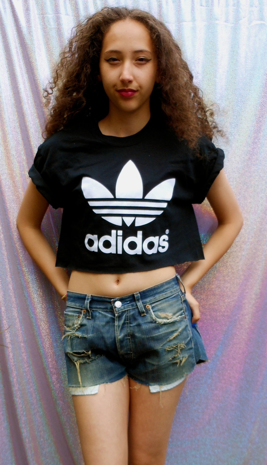 37f11262ee9af classic back adidas swag sexy style crop top tshirt fresh boss dope ...