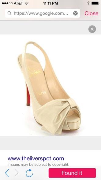shoes bows heels beige cream