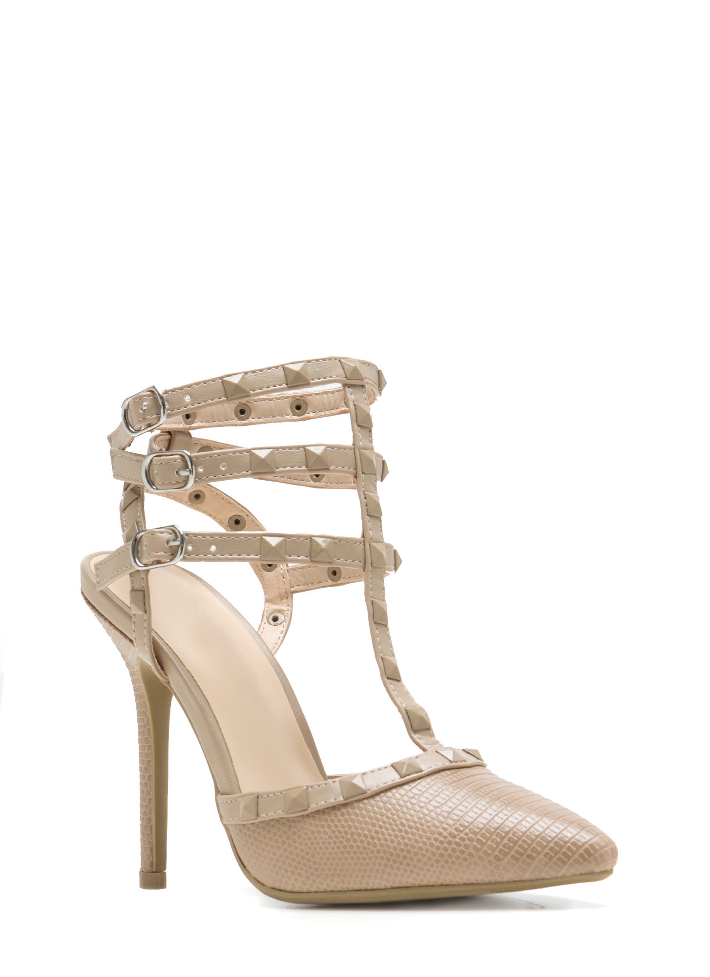 Strapping stud scaled pointy heels natural dkred black