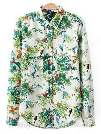 Green Contrast Lapel Long Sleeve Floral & Leaves Print Blouse - HandpickLook.com