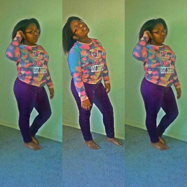 jeans purple pants