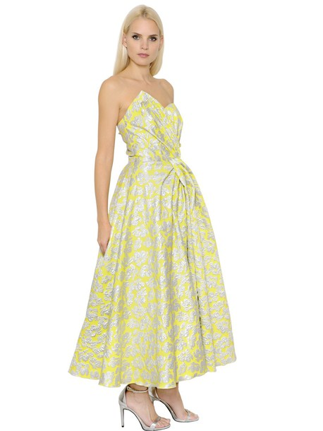 INGIE dress strapless silver yellow