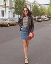 skirt,top,stripes,stripes top,jacket,leather jacket,black jacket,denim,denim skirt,short skirt,mini skirt,shoes,bag,red bag,sunglasses