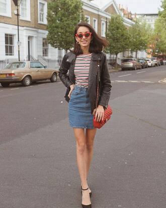 skirt top stripes stripes top jacket leather jacket black jacket denim denim skirt short skirt mini skirt shoes bag red bag sunglasses