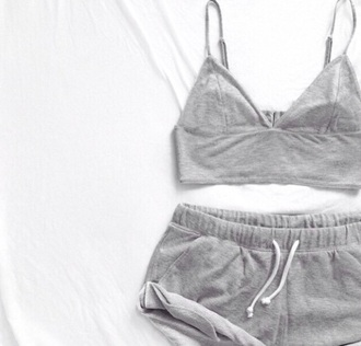 shorts sweat shorts gray halter gray halter top grey sportswear top
