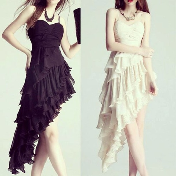 Dress White Black High Low Dresses High Low Prom Dresses Prom