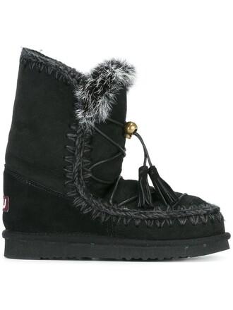fur women boots cotton suede black shoes