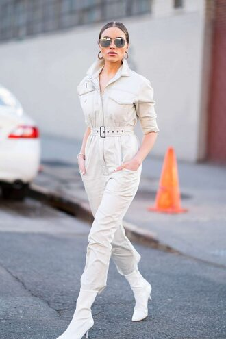 jumpsuit olivia culpo white boots streetstyle
