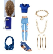 jeans,gold necklace,top,phone cover,jewels,earphones,cardigan,ripped jeans,crop tops,blue top,alice+olivia,curly hair,outfit,polyvore