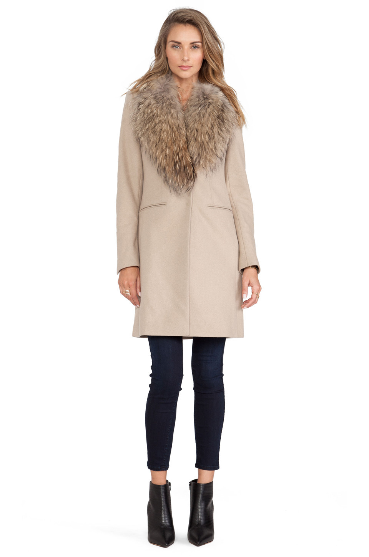SAM. Crosby Jacket with Asiatic Raccoon Fur Trim in brown