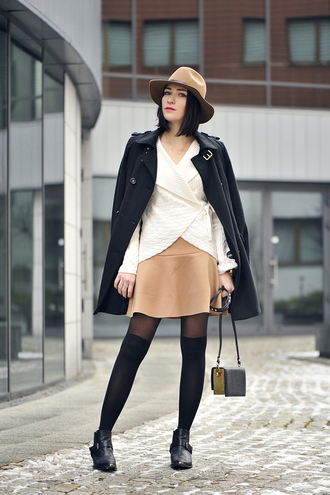 shiny sil blogger make-up leather skirt knitwear trench coat tights fedora mini bag shoes hat skirt sweater bag jewels
