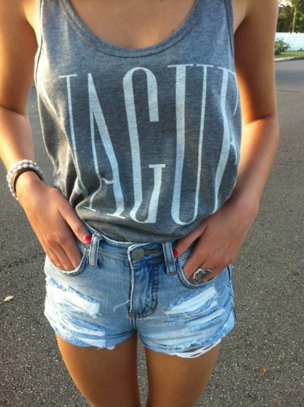 tank top tumblr shirt summer time grey grey tank top shorts top tshirt.