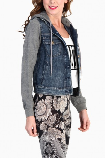 Jean jacket with hoodie sleeves – Modern fashion jacket photo blog