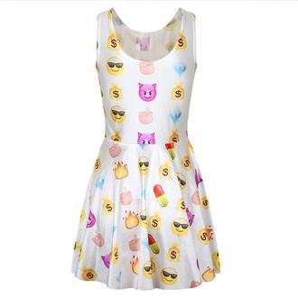 dress emoji print sleeveless cute dress 3d white midi dress vest tank top fashion summer slim sexy dress two colour